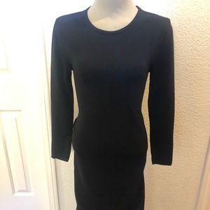 Zara black knit wiggle stretch dress